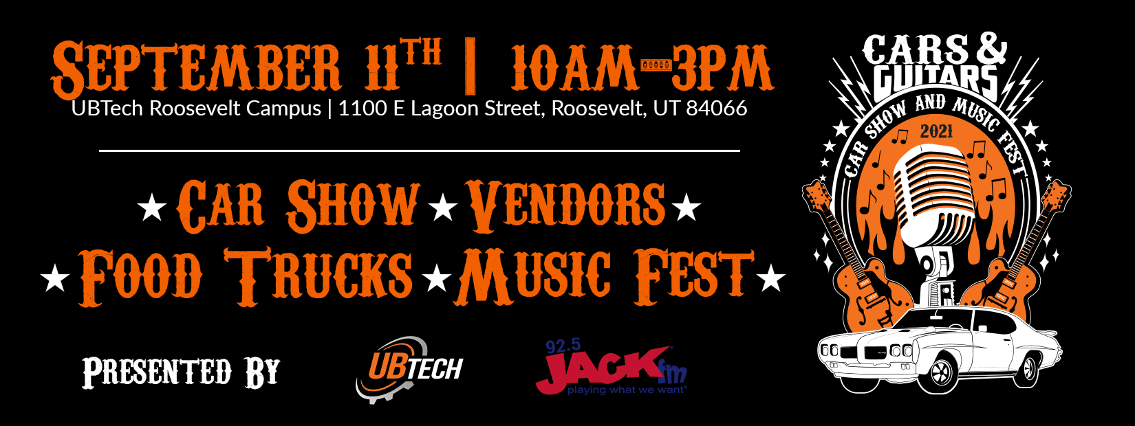 Cars and Guitars, September 11th from 10am to 3pm, Roosevelt Campus, 1100 E Lagoon Street